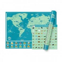 Stírací mapa světa WILD WORLD (náhled)