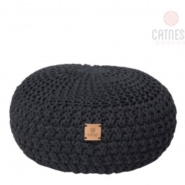 Černý pletený puf (náhled)