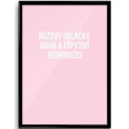 Růžový obláčky na zeď (náhled)
