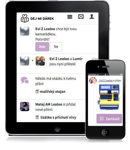 Ukázka ze aplikace, jak zamluvit dárek.
