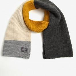 Žluto-šedá dámská pletená šála (náhled)
