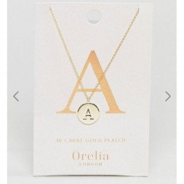 Orelia Gold Plated Initial A Disc Pendant